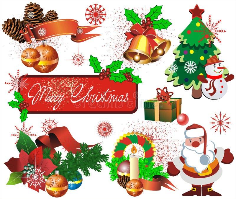 Placez les éléments pour le DES de Noël illustration stock