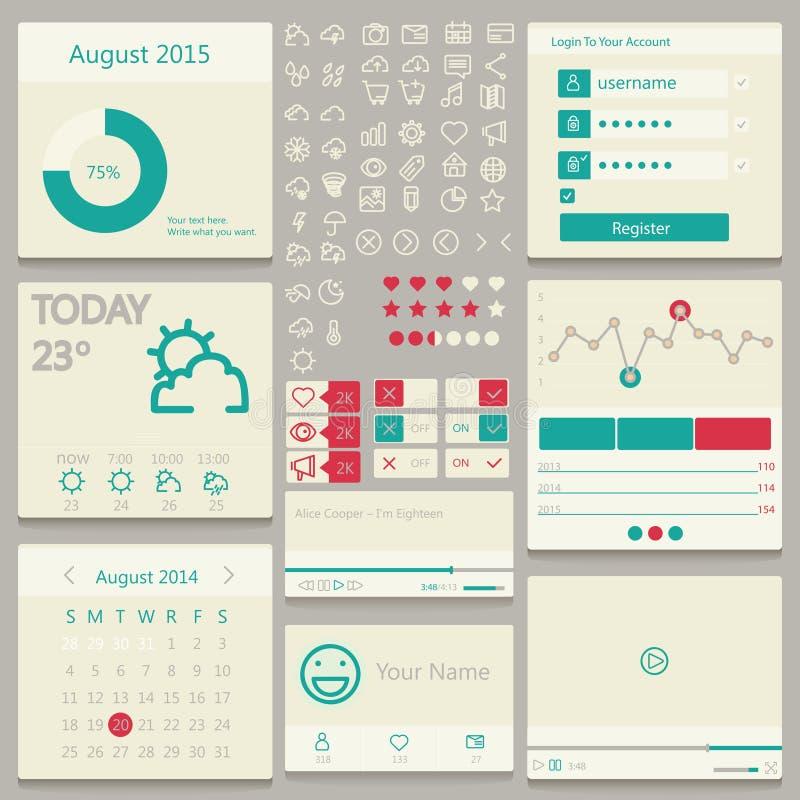 Placez les éléments utilisés pour l'interface utilisateurs lumière illustration libre de droits