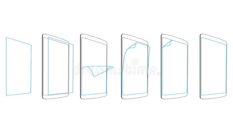 Placez les étapes appliquent la tablette de protecteur d'écran illustration libre de droits