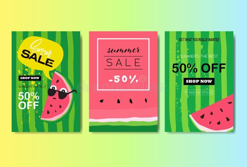 Placez les achats de saison de label de conception d'insigne de lettrage de pastèque de vente d'été pour la carte de voeux d'invi illustration libre de droits