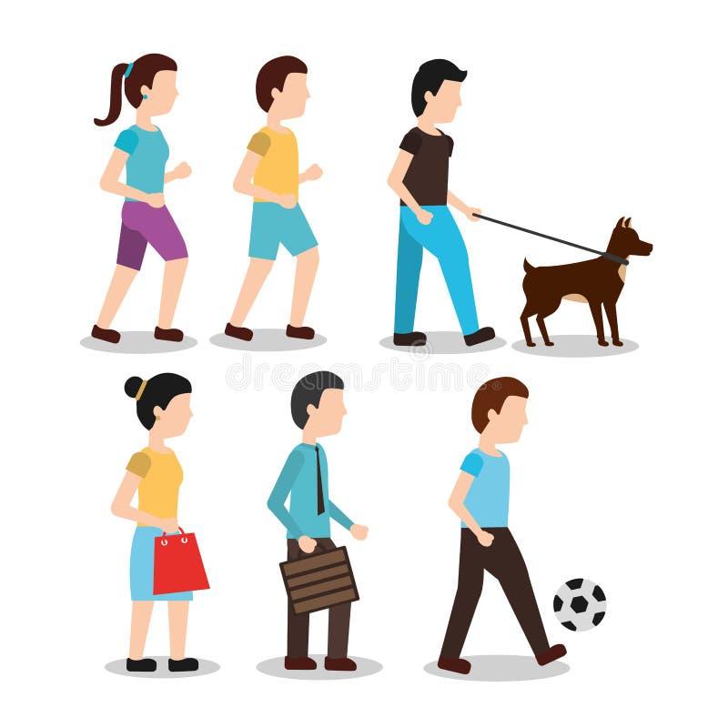 Placez les achats différents de femme de promenade d'homme de diverses activités de personnes jouant avec la boule illustration de vecteur