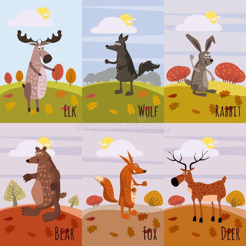 Placez les animaux de région boisée de cartes et le Forest Design Elements mignon, cerfs communs, loup, lapin, ours, renard, élan illustration stock