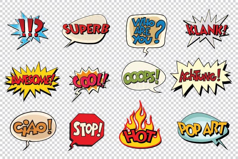 Placez les autocollants de bulle de bande dessinée illustration libre de droits