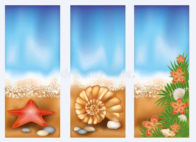 Placez les bannières de plage d'été illustration stock
