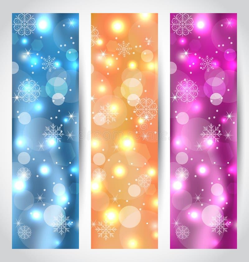 Placez les bannières rougeoyantes de Noël avec des flocons de neige illustration de vecteur