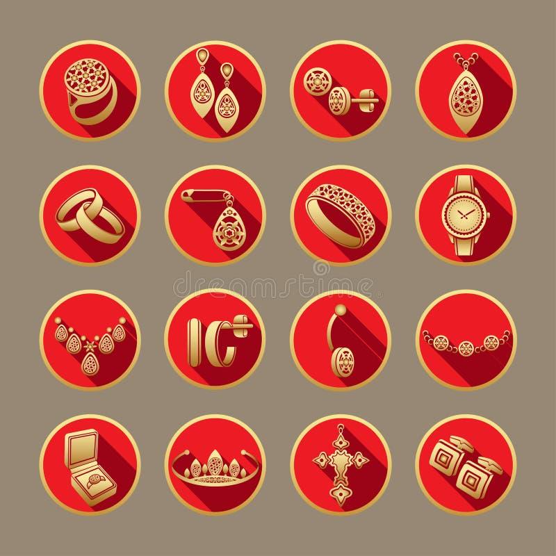 Placez les bijoux d'icônes dans le vecteur Icônes plates d'or dans un cadre rond rouge avec une ombre illustration stock