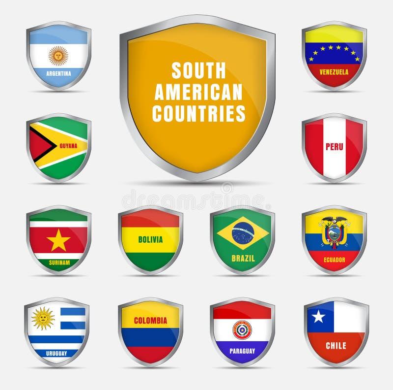 Placez les boucliers avec des drapeaux du pays sud-américain illustration stock