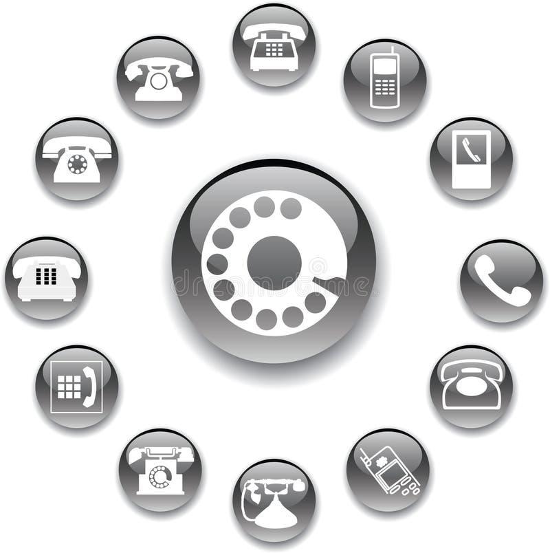 Placez les boutons 32A. Téléphones illustration stock
