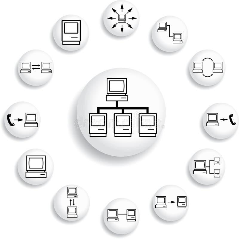 Placez les boutons. Réseau informatique illustration stock