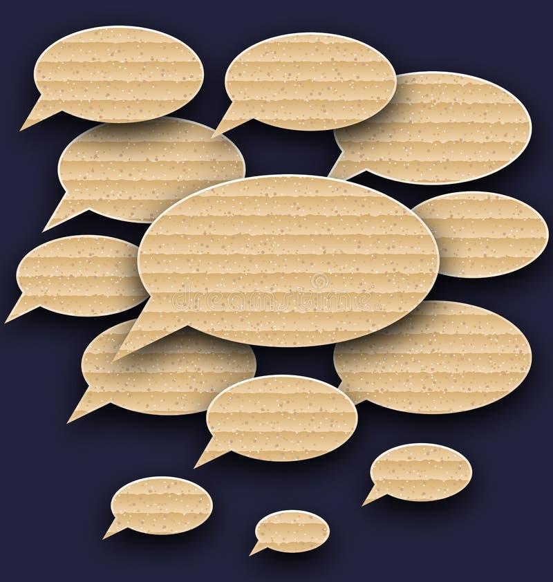 Placez les bulles de la parole faites dans la texture de carton illustration de vecteur
