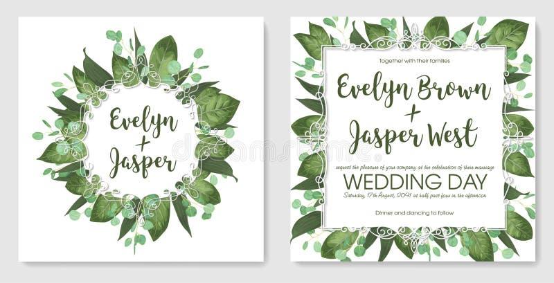 Placez les cartes d'invitation de mariage, invitez une carte Aquarelle s de vecteur illustration de vecteur