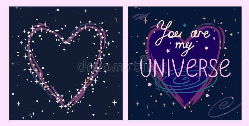 Placez les cartes dans des couleurs bleues avec le coeur une inscription sur le fond du ciel étoilé que vous êtes mon univers illustration libre de droits
