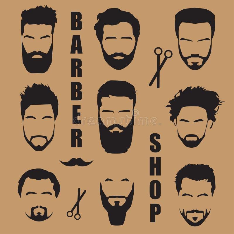 Placez les cheveux du ` s d'hommes avec une barbe Salon de coiffure illustration libre de droits