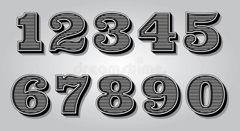 Placez les chiffres stylisés pour la certification de conception, invitations illustration libre de droits