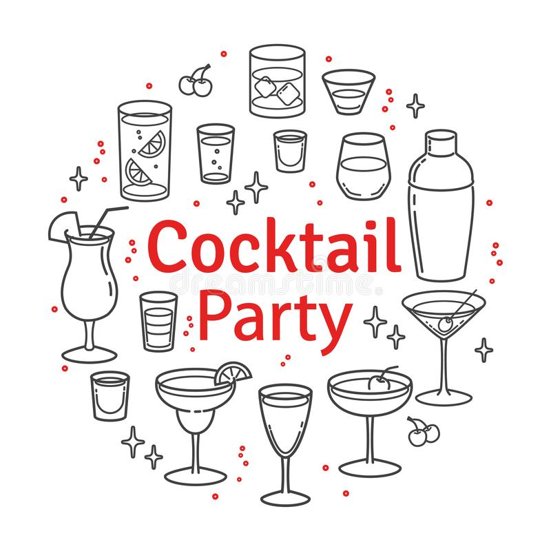 Placez les cocktails de croquis et les boissons d'alcool illustration libre de droits