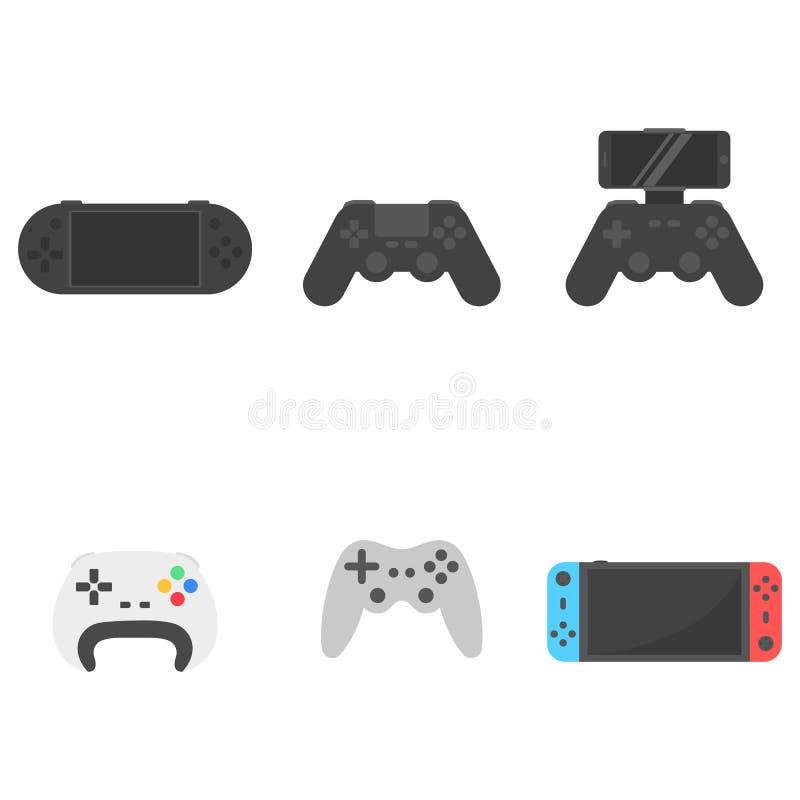 Placez les contrôleurs sans fil de gamepad et de jeu d'icône avec le téléphone d'écran illustration libre de droits