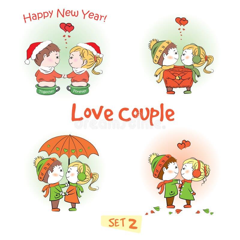 Placez les couples d'amour, le garçon mignon et la fille ensemble illustration libre de droits