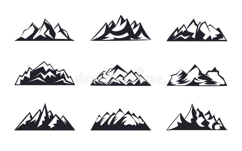 Placez les crêtes de montagnes, collection d'icône d'éléments de conception de logo de ski illustration stock