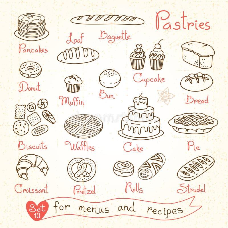 Placez les dessins des pâtisseries et du pain pour la conception illustration de vecteur