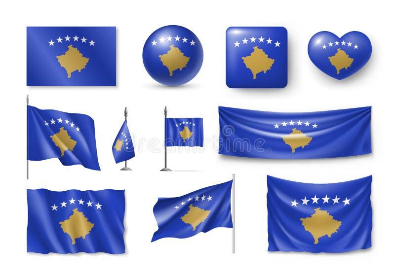 Placez les drapeaux de Kosovo, bannières, bannières, symboles, icône relistic illustration stock
