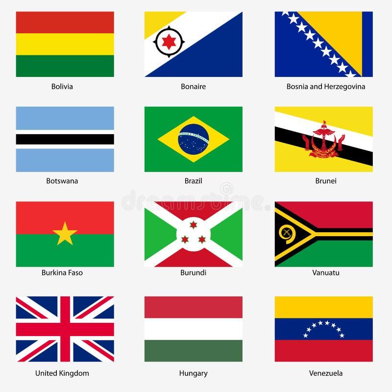 Placez les drapeaux des États souverains du monde. Vecteur illustration stock