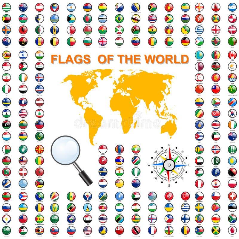 Placez les drapeaux des États souverains du monde Vecteur illustration de vecteur