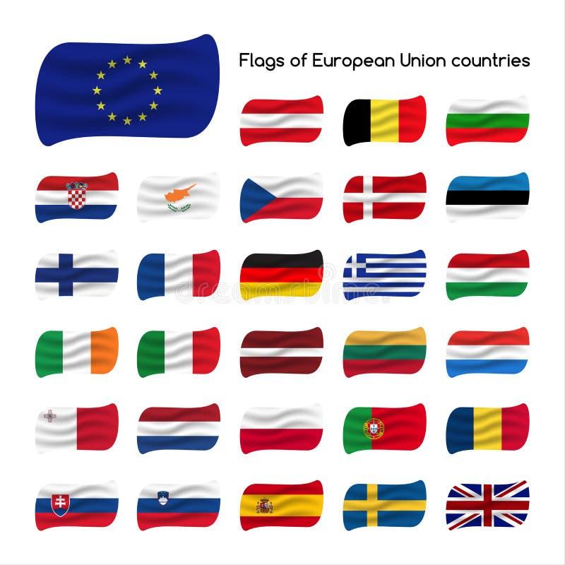 Placez les drapeaux des pays de l'Union Européenne, Etats membres d'UE illustration stock