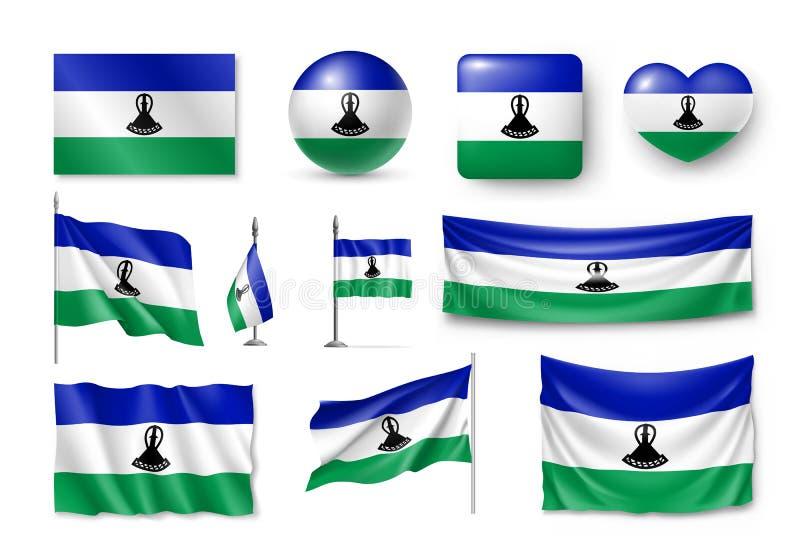 Placez les drapeaux du Lesotho, bannières, bannières, symboles, icône plate illustration de vecteur
