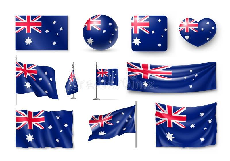 Placez les drapeaux réalistes d'Australie, bannières, bannières, symboles, icône illustration libre de droits