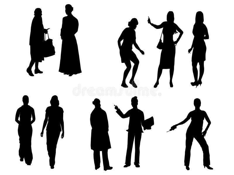 placez les femmes de silhouettes illustration stock