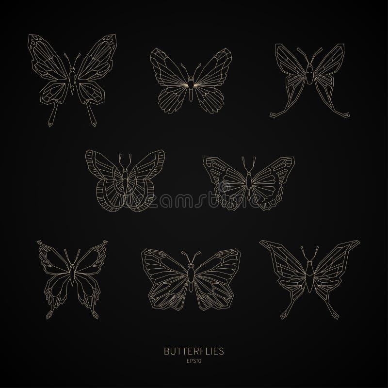 Placez les formes géométriques de papillons d'or Illustration de vecteur illustration stock
