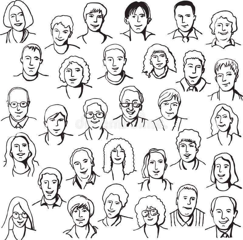 Placez les gens d'affaires de portrait illustration de vecteur