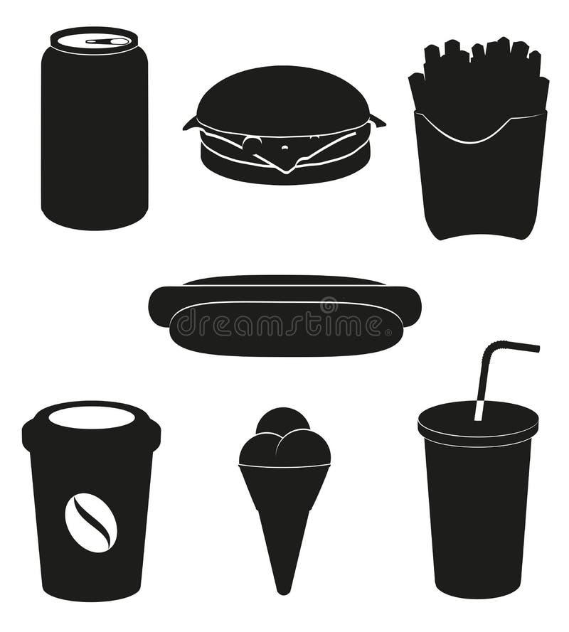 Placez les graphismes de la silhouette de noir d'aliments de préparation rapide   illustration libre de droits