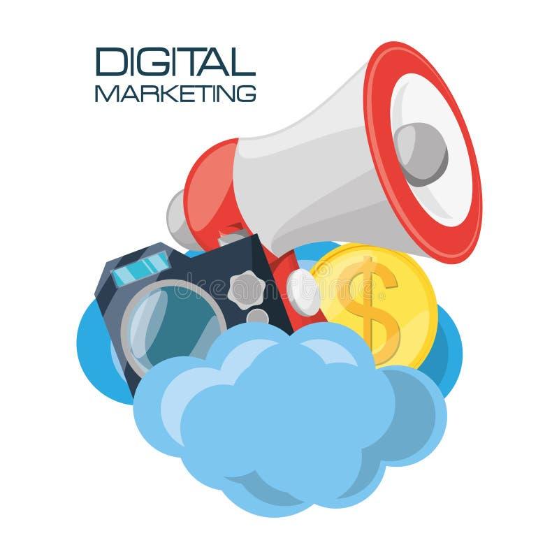 Placez les icônes connexes avec le marketing numérique illustration de vecteur