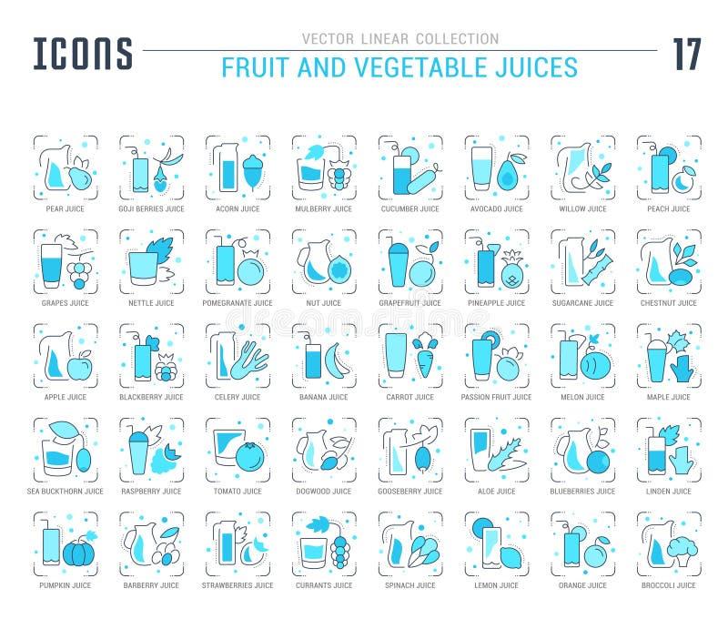 Placez les icônes de Blue Line des jus de fruits et légumes illustration stock