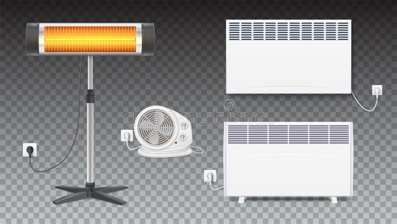 Placez les icônes des appareils de chauffage, appareils électroménagers sur le fond transparent Convecteur réaliste, radiateur, a illustration de vecteur