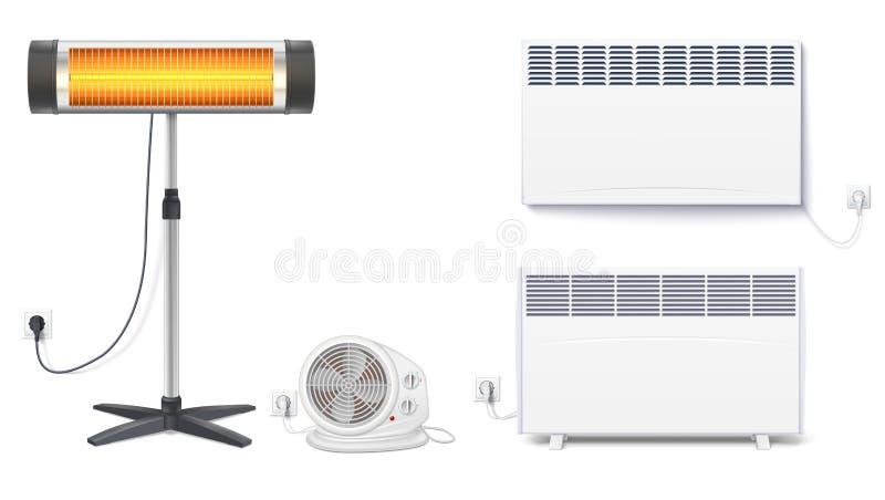 Placez les icônes des appareils de chauffage, appareils électroménagers sur un fond blanc Convecteur, radiateur, appareil de chau illustration de vecteur