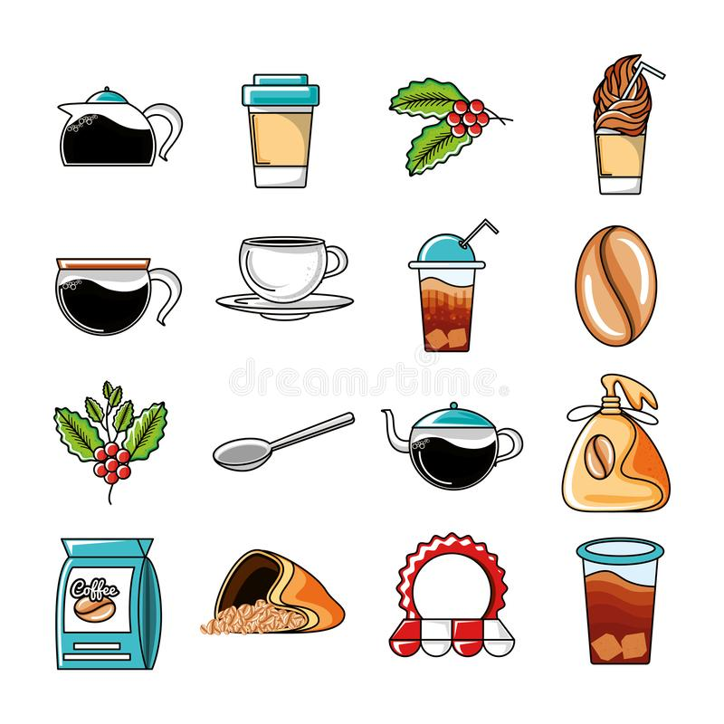 Placez les icônes des outils de café et de cuisine illustration stock