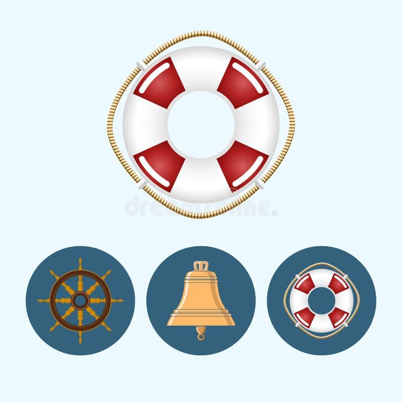 Placez les icônes avec la cloche colorée, bouée de sauvetage, roue de bateau, illustration de vecteur illustration de vecteur