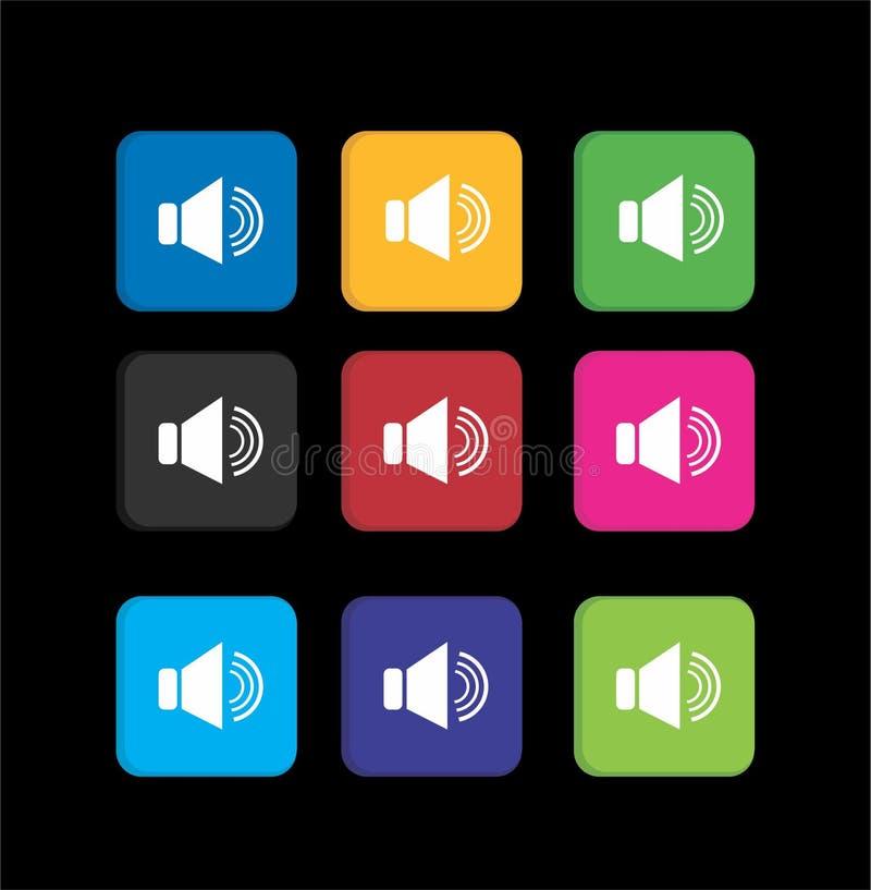 Placez les icônes colorées de haut-parleur de volume illustration libre de droits