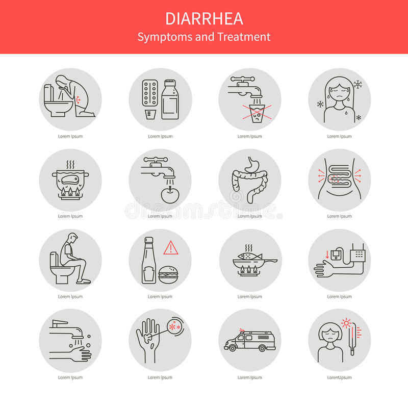 Placez les icônes de diarrhée illustration libre de droits
