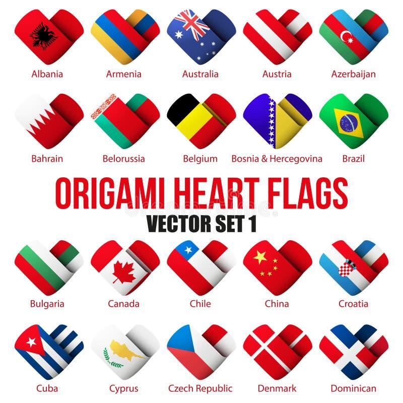 Placez les icônes de drapeau sous forme de coeur Je l'aime illustration libre de droits
