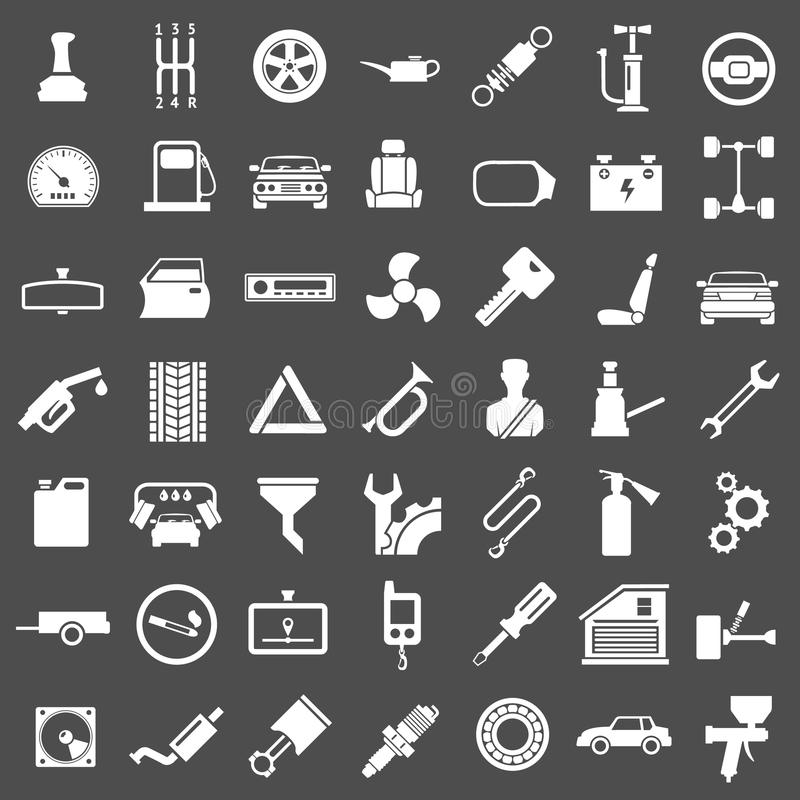 Placez les icônes de l'automobile, des pièces de voiture, de la réparation et du service illustration libre de droits