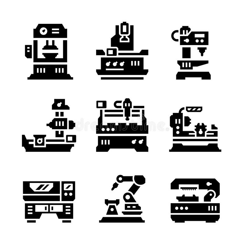 Placez les icônes de la machine-outil illustration de vecteur
