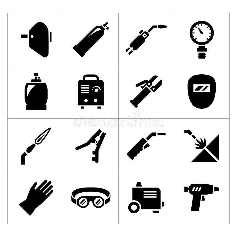 Placez les icônes de la soudure illustration stock