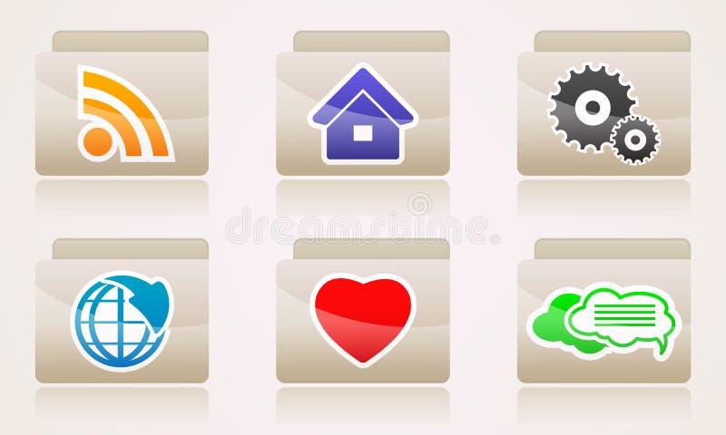 Placez les icônes de Web de l'Internet d'affaires de dossiers illustration stock