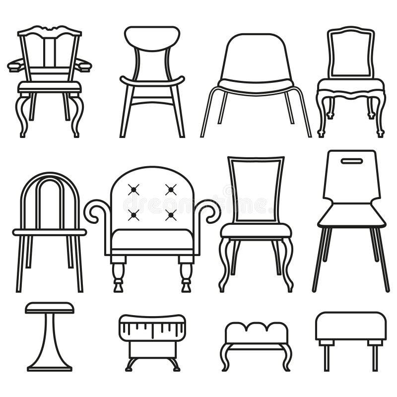 Placez les icônes des chaises et des tabourets illustration libre de droits