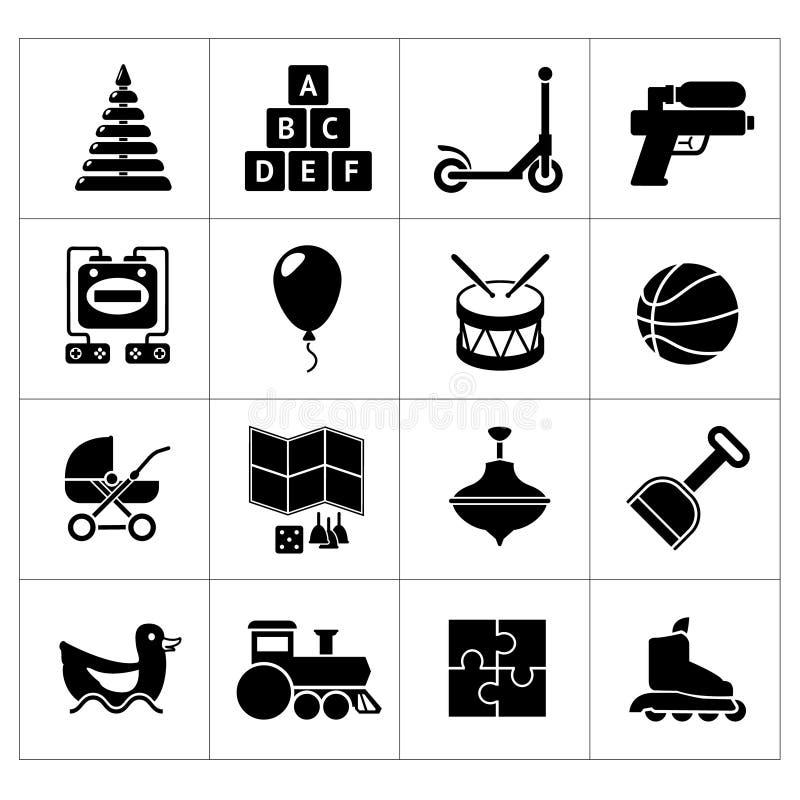 Placez les icônes des jouets illustration stock