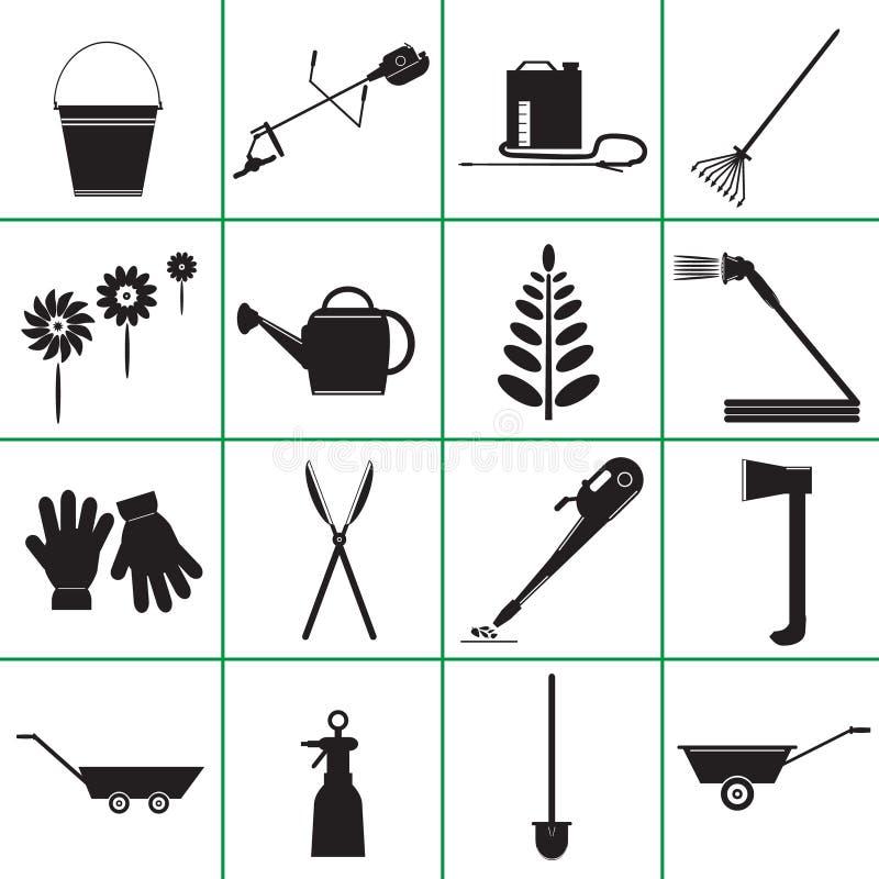 Placez les icônes des outils de jardin illustration libre de droits