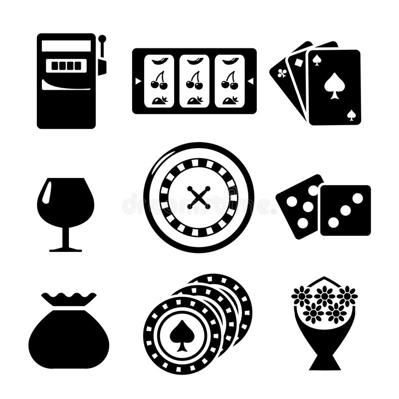 Placez les icônes du casino illustration stock